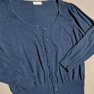 Yessica Blue Crop Cardigan 3/4 Sleeve Shirt Blouse